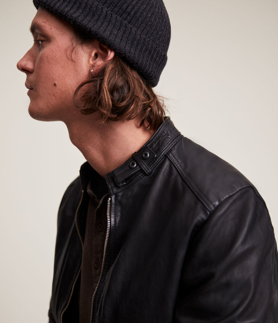 Men's Cora Leather Jacket (jet_black) - Image 6