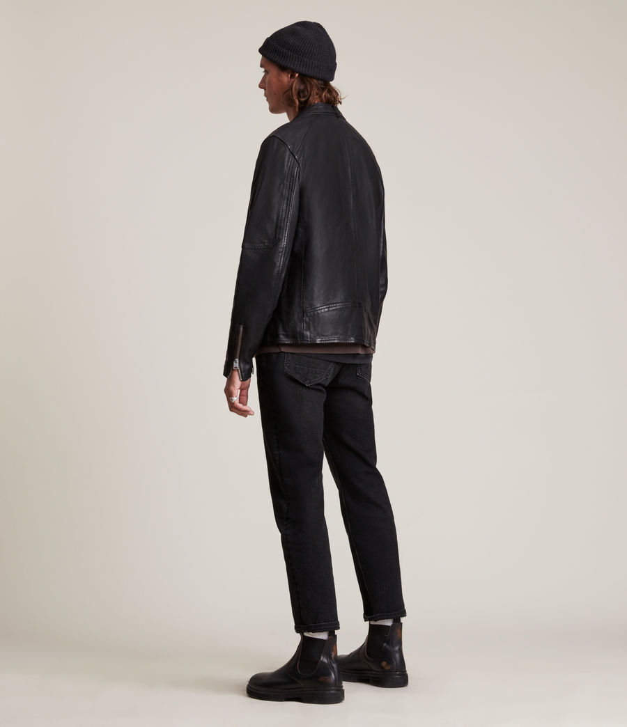 Men's Cora Leather Jacket (jet_black) - Image 7