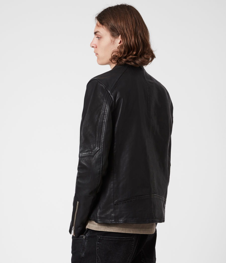 Men's Cora Leather Jacket (jet_black) - Image 8