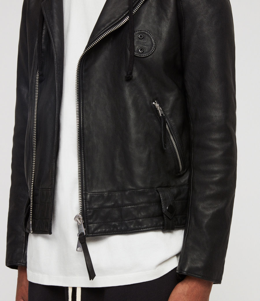 Mens Woodley Leather Biker Jacket (black) - Image 4