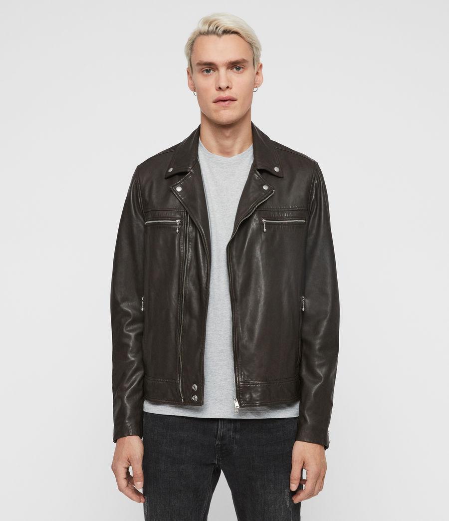 Mens Hale Leather Biker Jacket (charcoal_grey) - Image 1