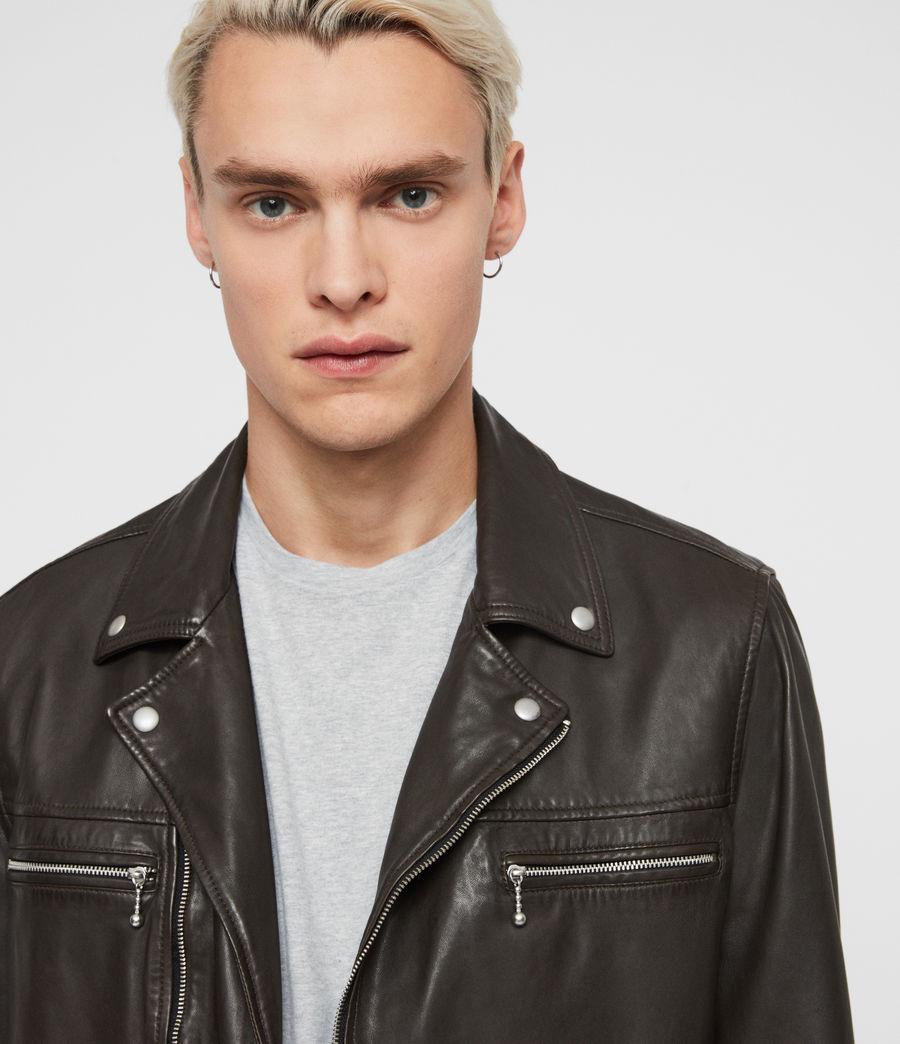 Mens Hale Leather Biker Jacket (charcoal_grey) - Image 2