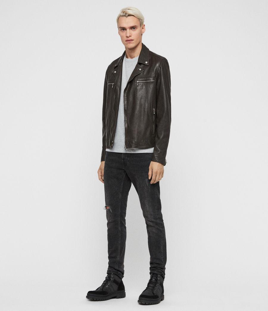 Mens Hale Leather Biker Jacket (charcoal_grey) - Image 3