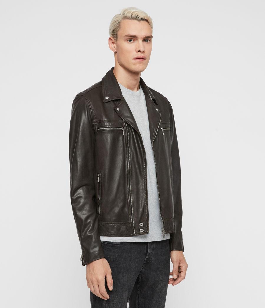 Mens Hale Leather Biker Jacket (charcoal_grey) - Image 4