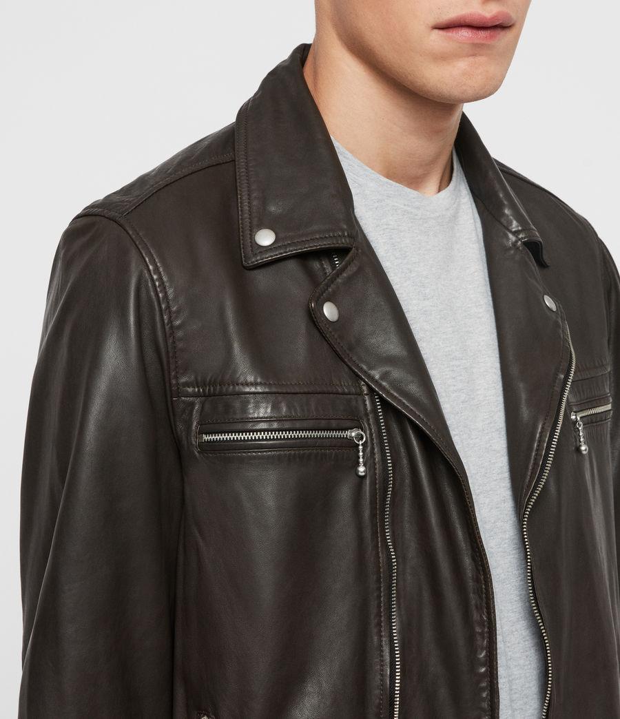 Mens Hale Leather Biker Jacket (charcoal_grey) - Image 5