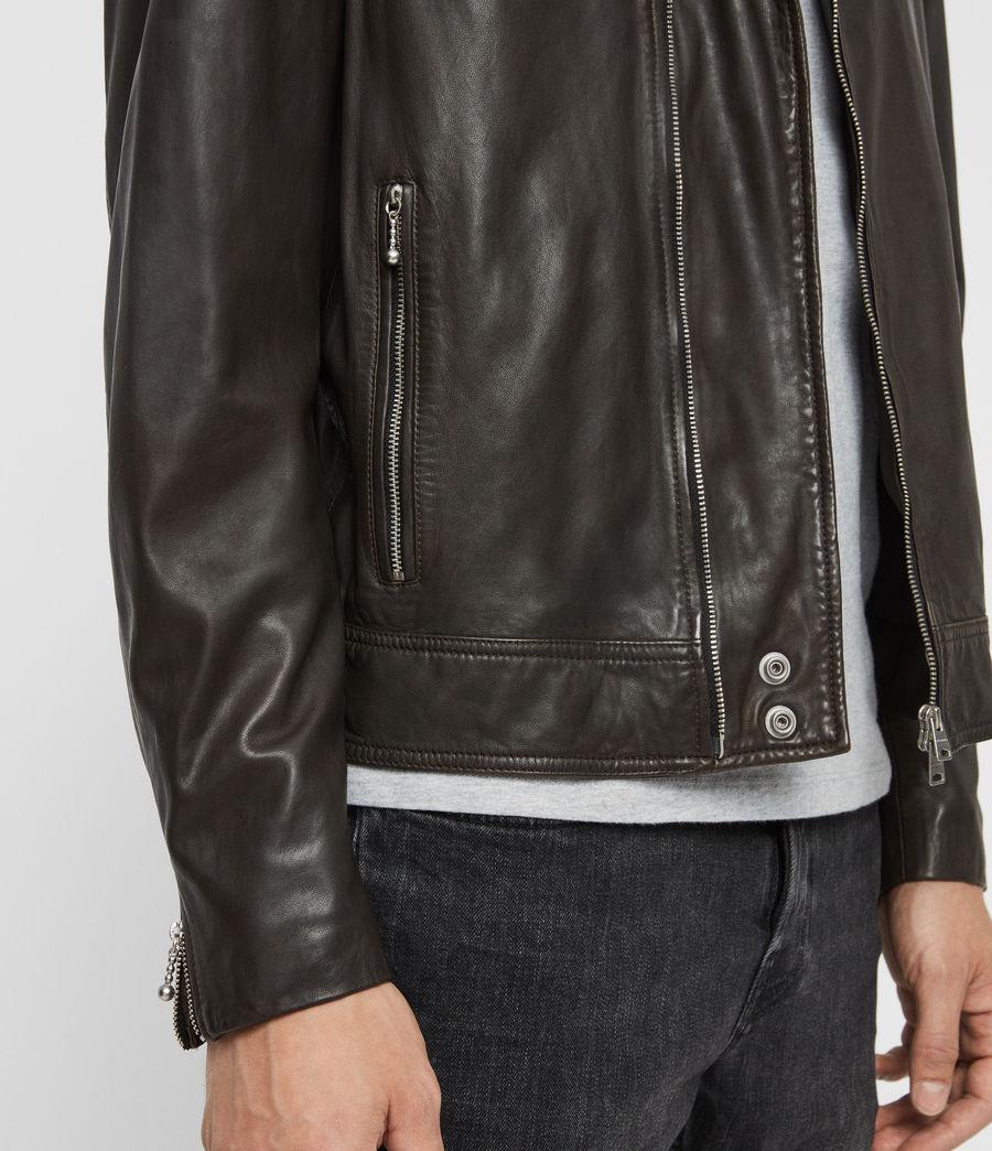 Mens Hale Leather Biker Jacket (charcoal_grey) - Image 6