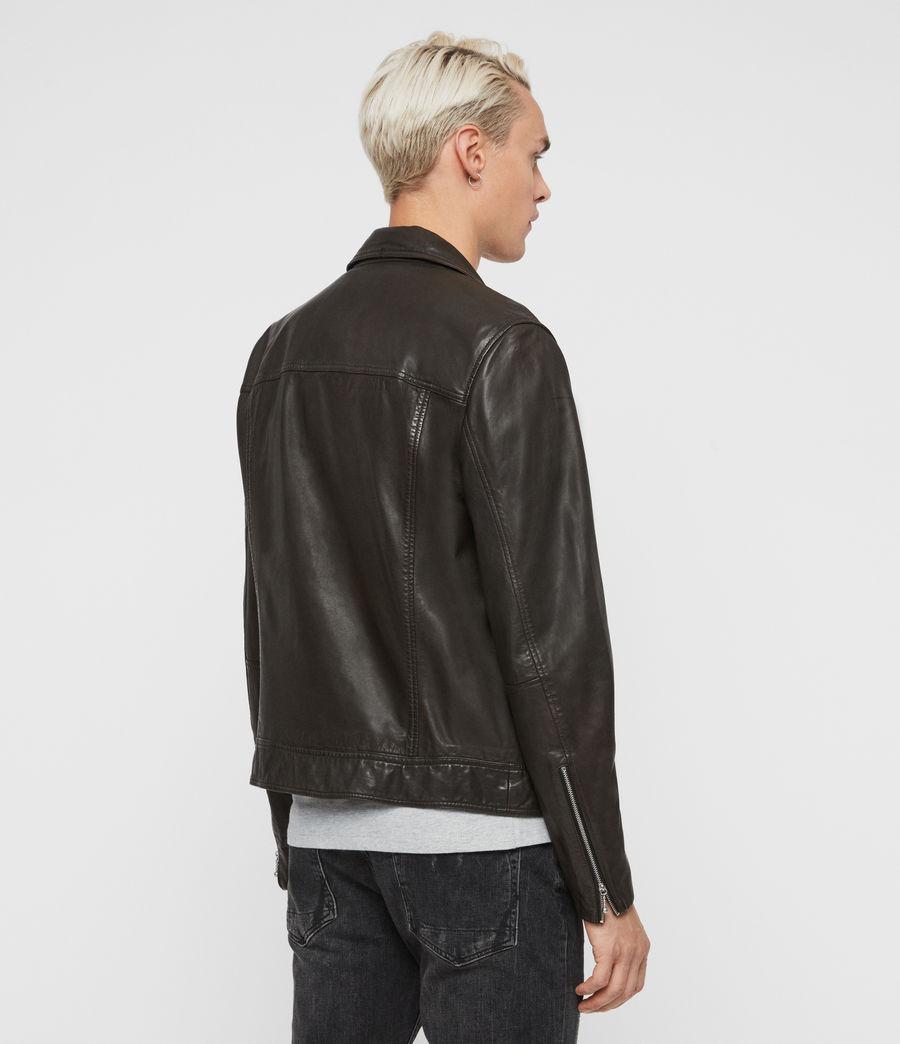 Mens Hale Leather Biker Jacket (charcoal_grey) - Image 7