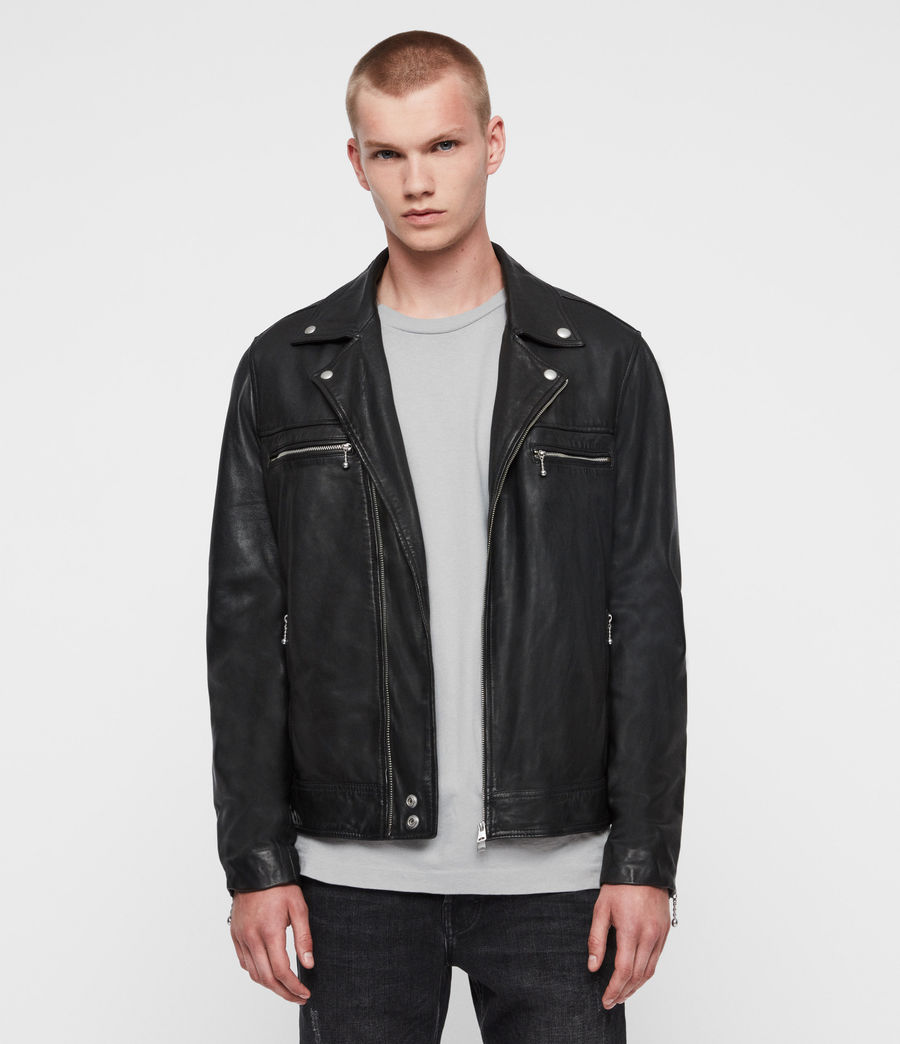 Mens Hale Leather Biker Jacket (black) - Image 1