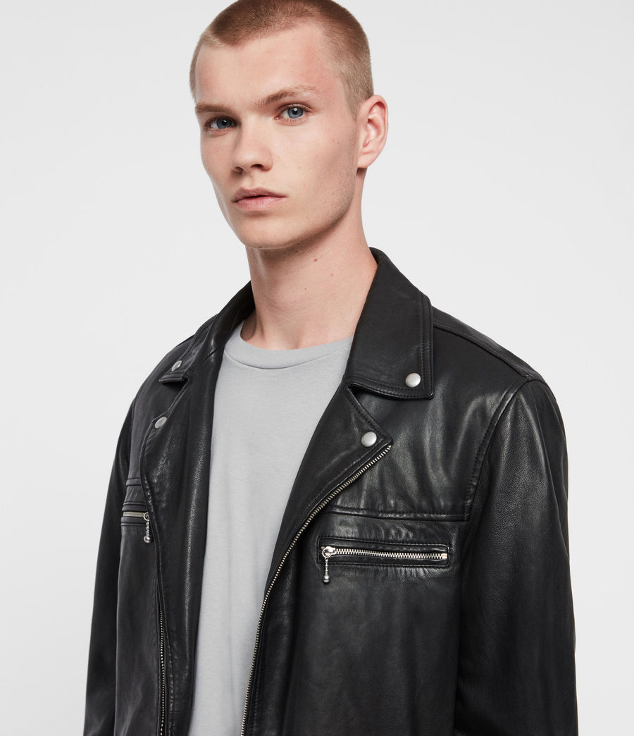 Mens Hale Leather Biker Jacket (black) - Image 2