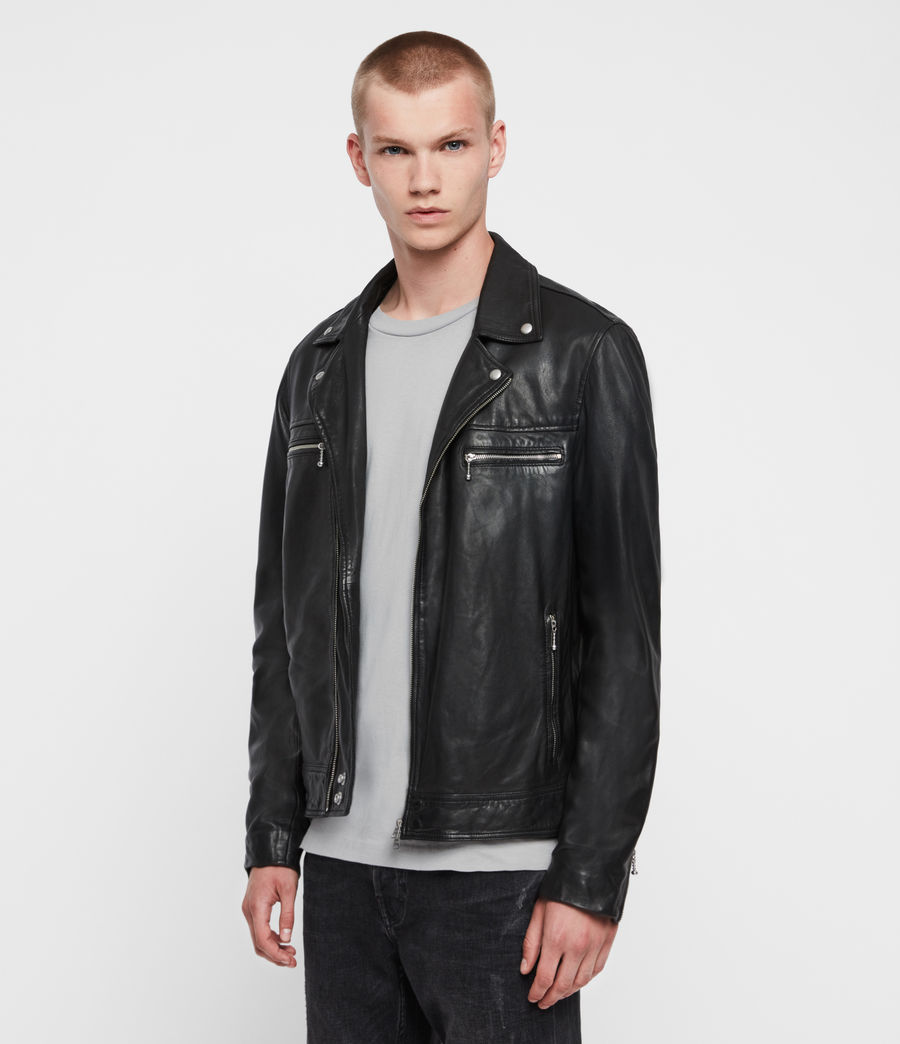 Mens Hale Leather Biker Jacket (black) - Image 3