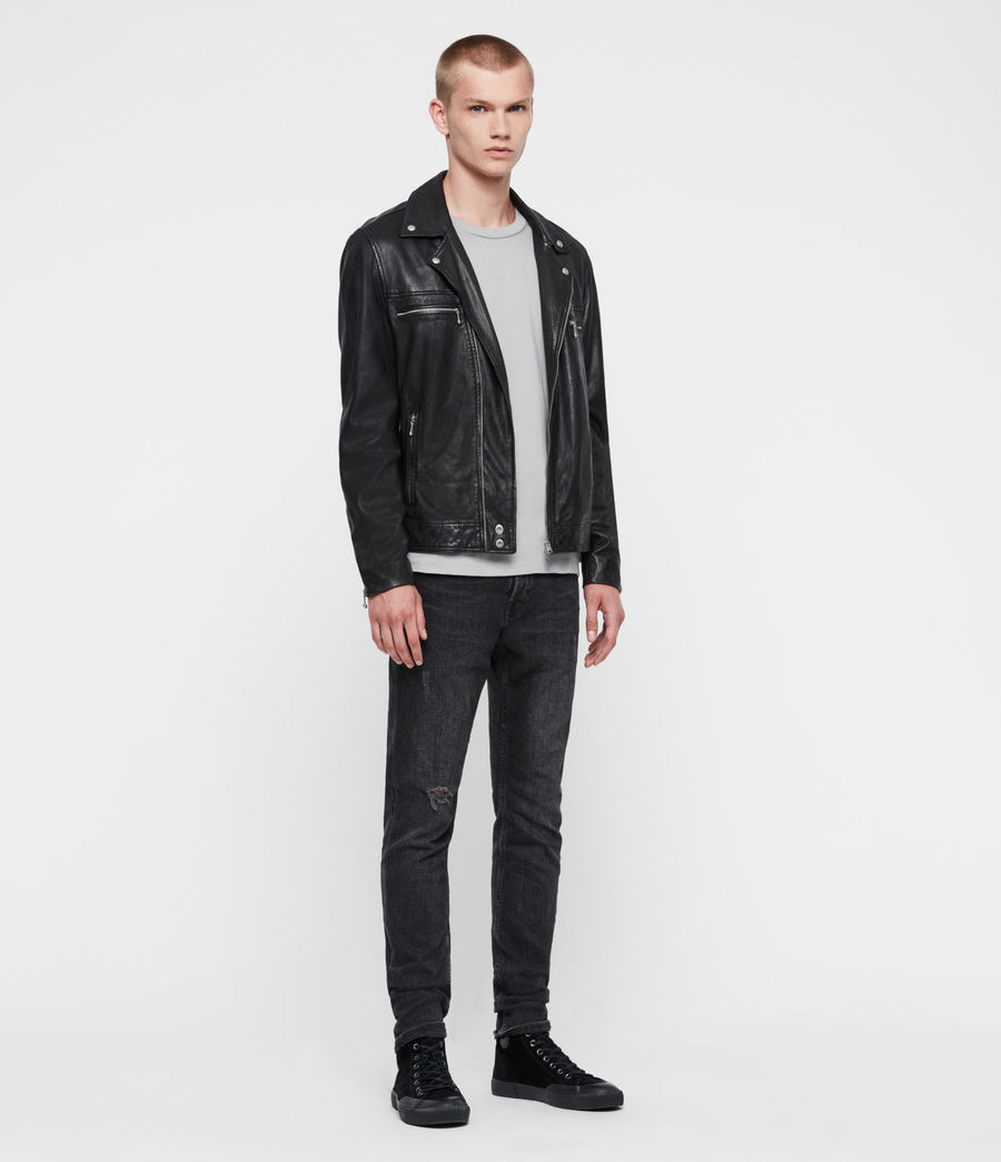 Mens Hale Leather Biker Jacket (black) - Image 4