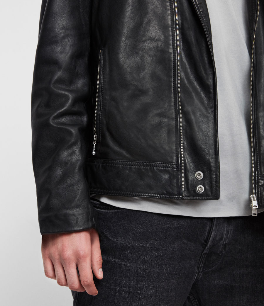 Mens Hale Leather Biker Jacket (black) - Image 5