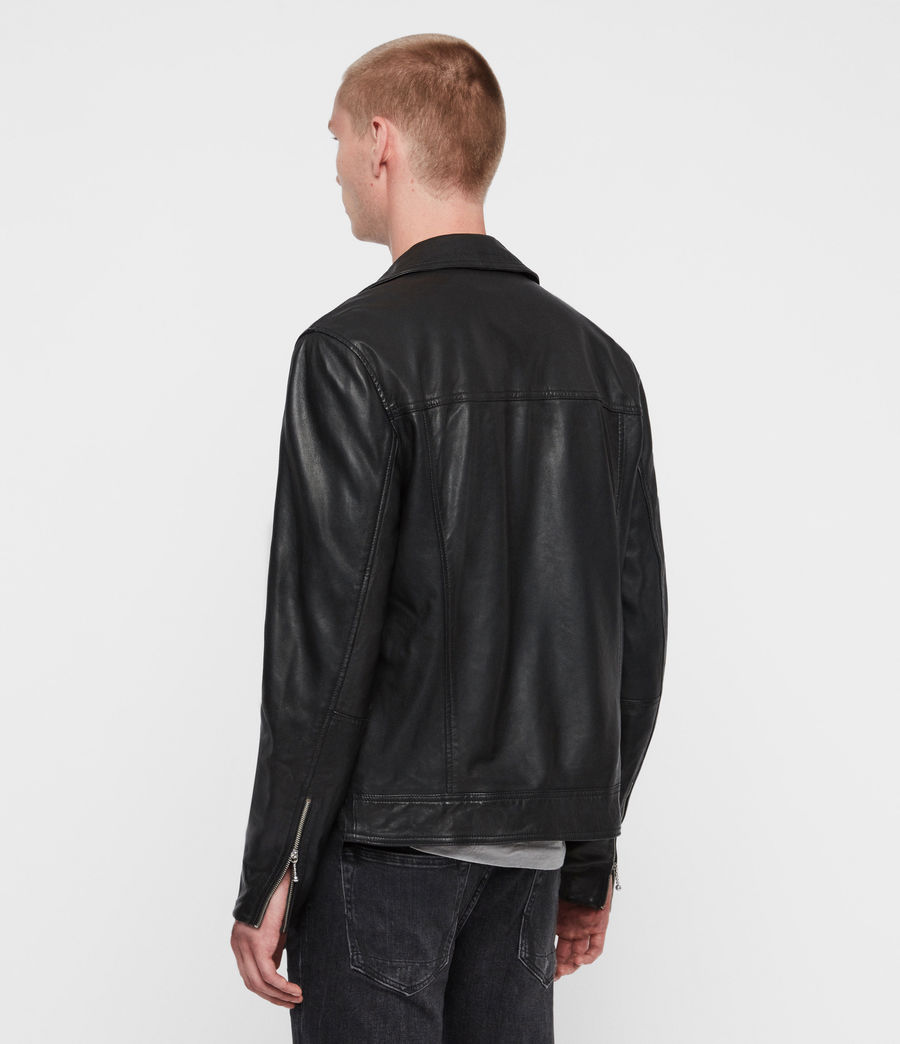 Mens Hale Leather Biker Jacket (black) - Image 6