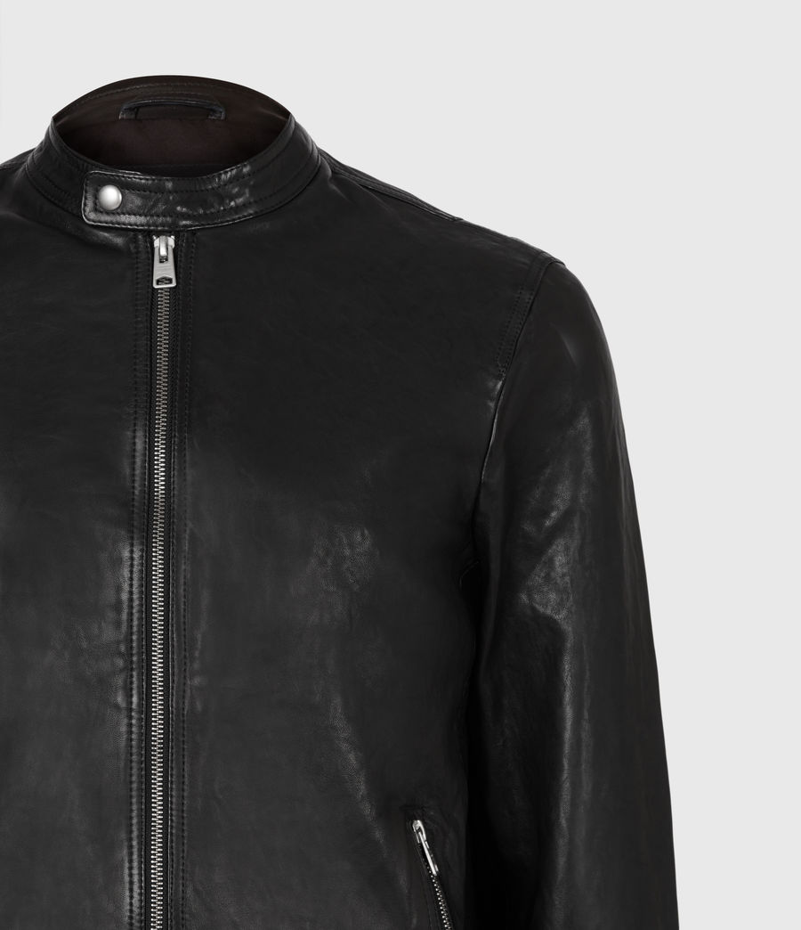 Men's Hopkin Leather Jacket (deep_grey) - Image 5
