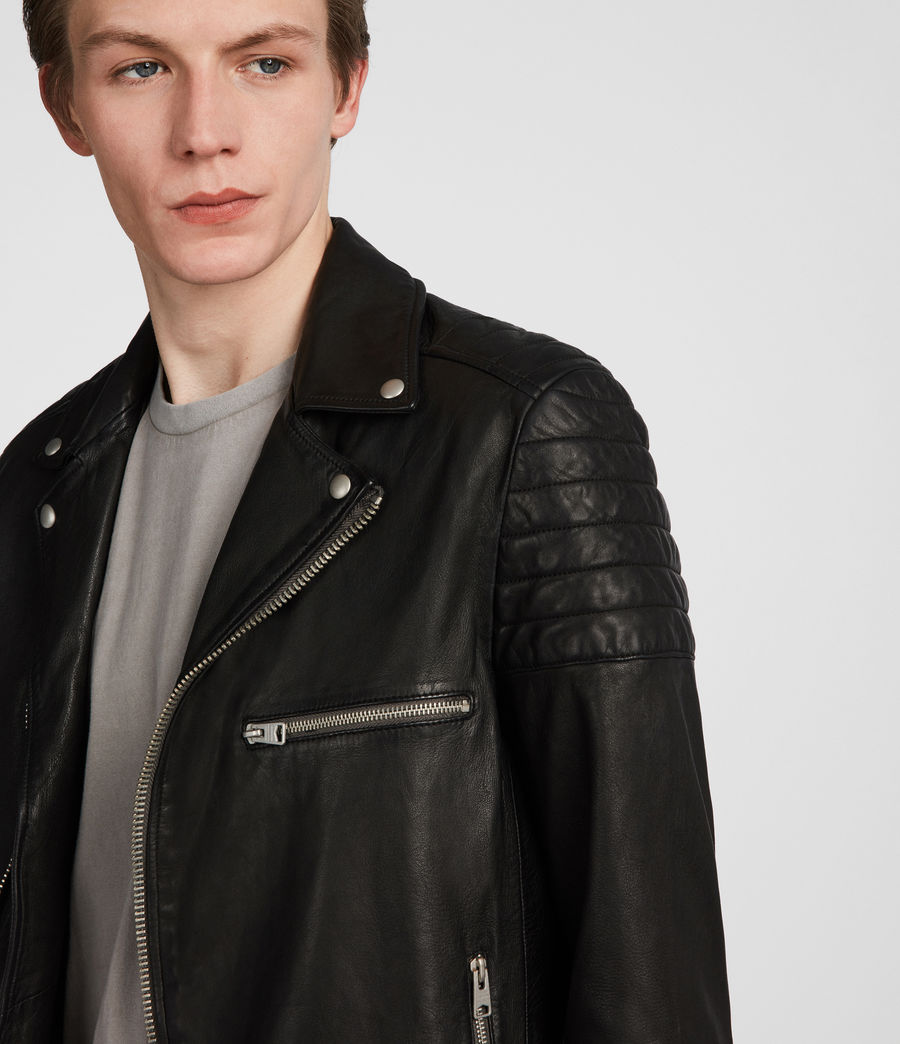Men's Callahan Leather Biker Jacket (black) - Image 2
