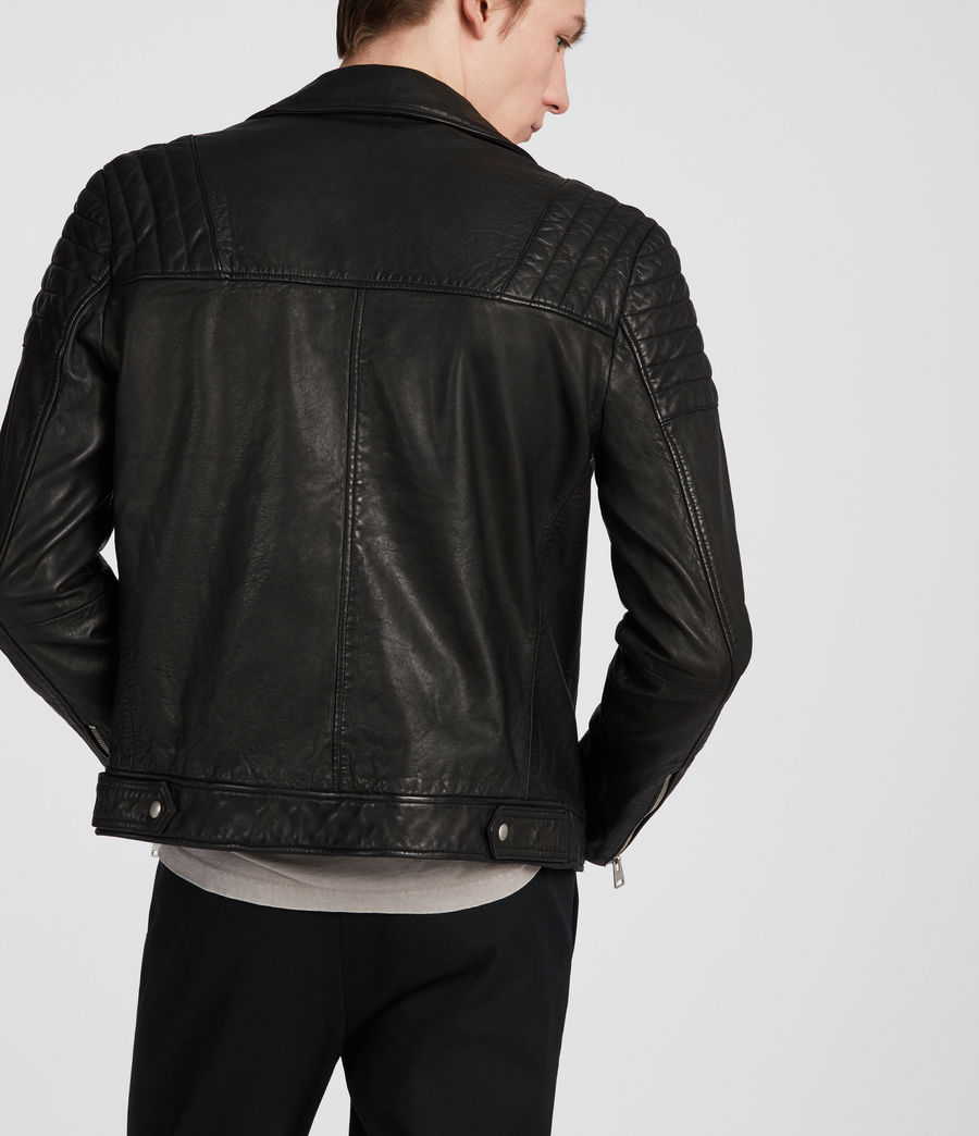Men's Callahan Leather Biker Jacket (black) - Image 3