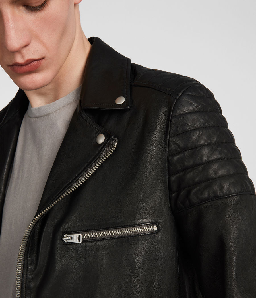 Men's Callahan Leather Biker Jacket (black) - Image 5