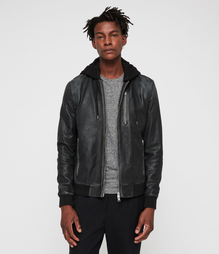Mens Abbot Leather Bomber Jacket (black_grey) - Image 1