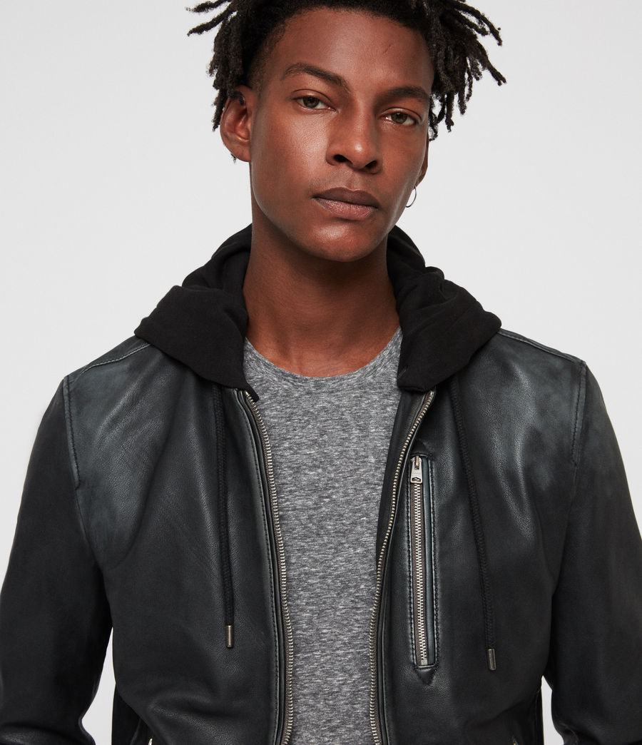 Men's Abbot Leather Bomber Jacket (black_grey) - Image 2