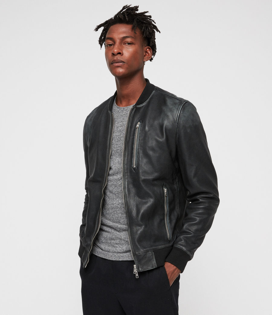 Mens Abbot Leather Bomber Jacket (black_grey) - Image 3