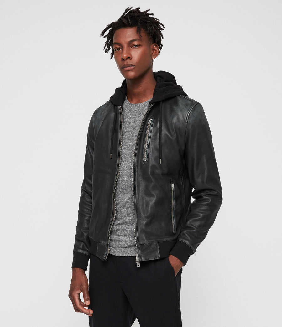 Men's Abbot Leather Bomber Jacket (black_grey) - Image 4