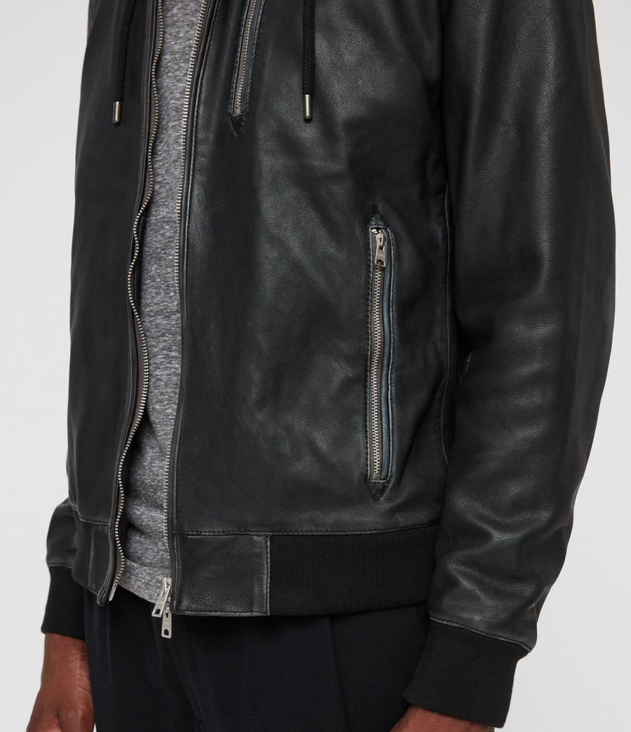 Men's Abbot Leather Bomber Jacket (black_grey) - Image 5