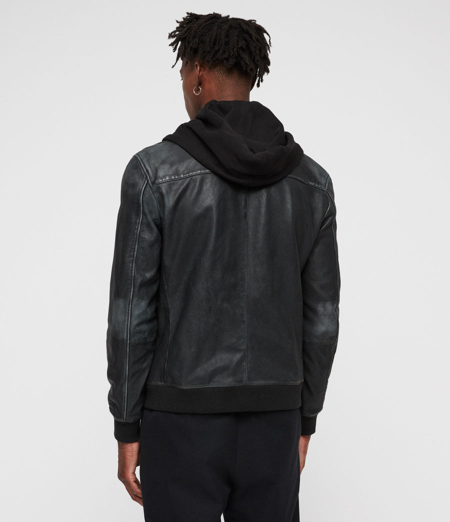 Men's Abbot Leather Bomber Jacket (black_grey) - Image 6