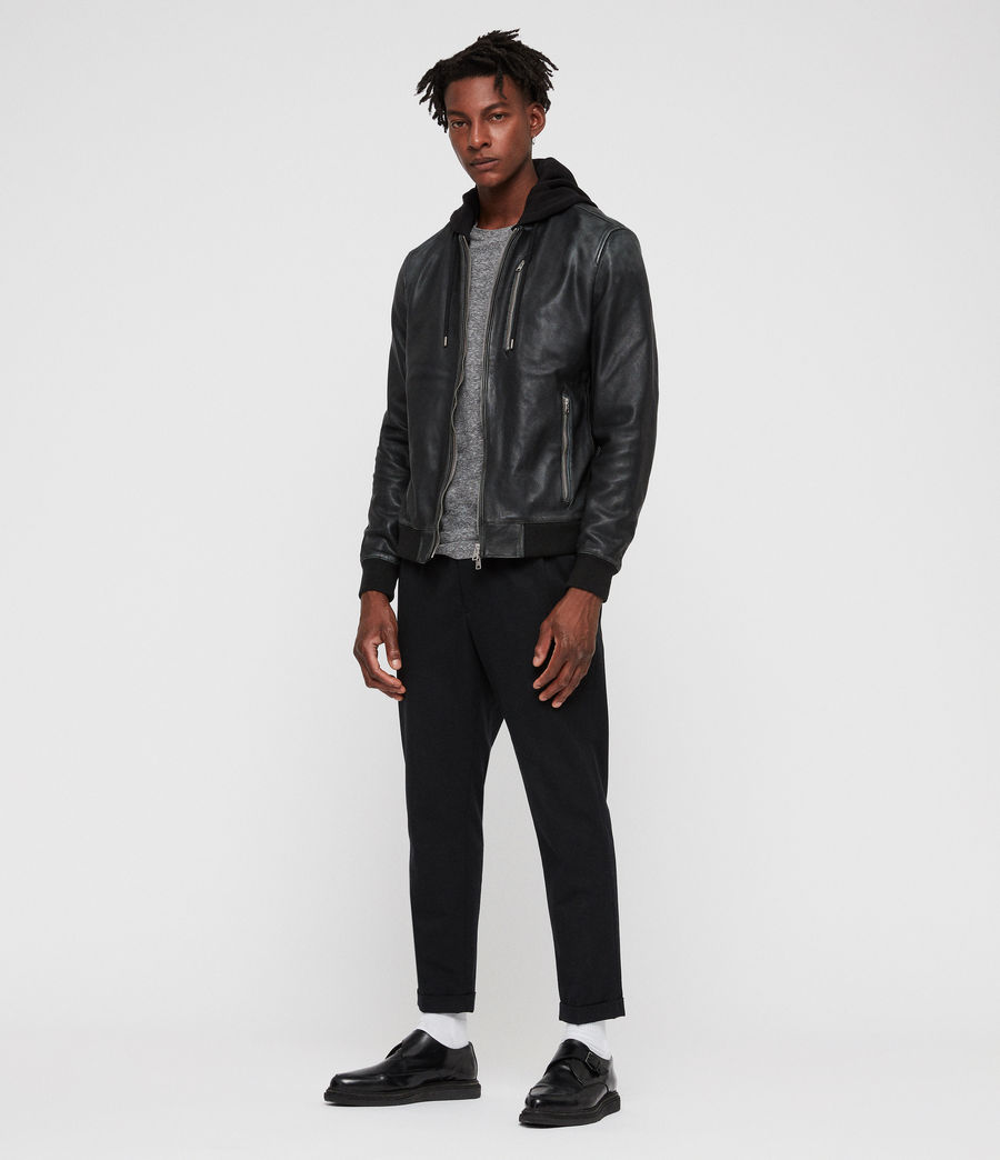 Men's Abbot Leather Bomber Jacket (black_grey) - Image 7