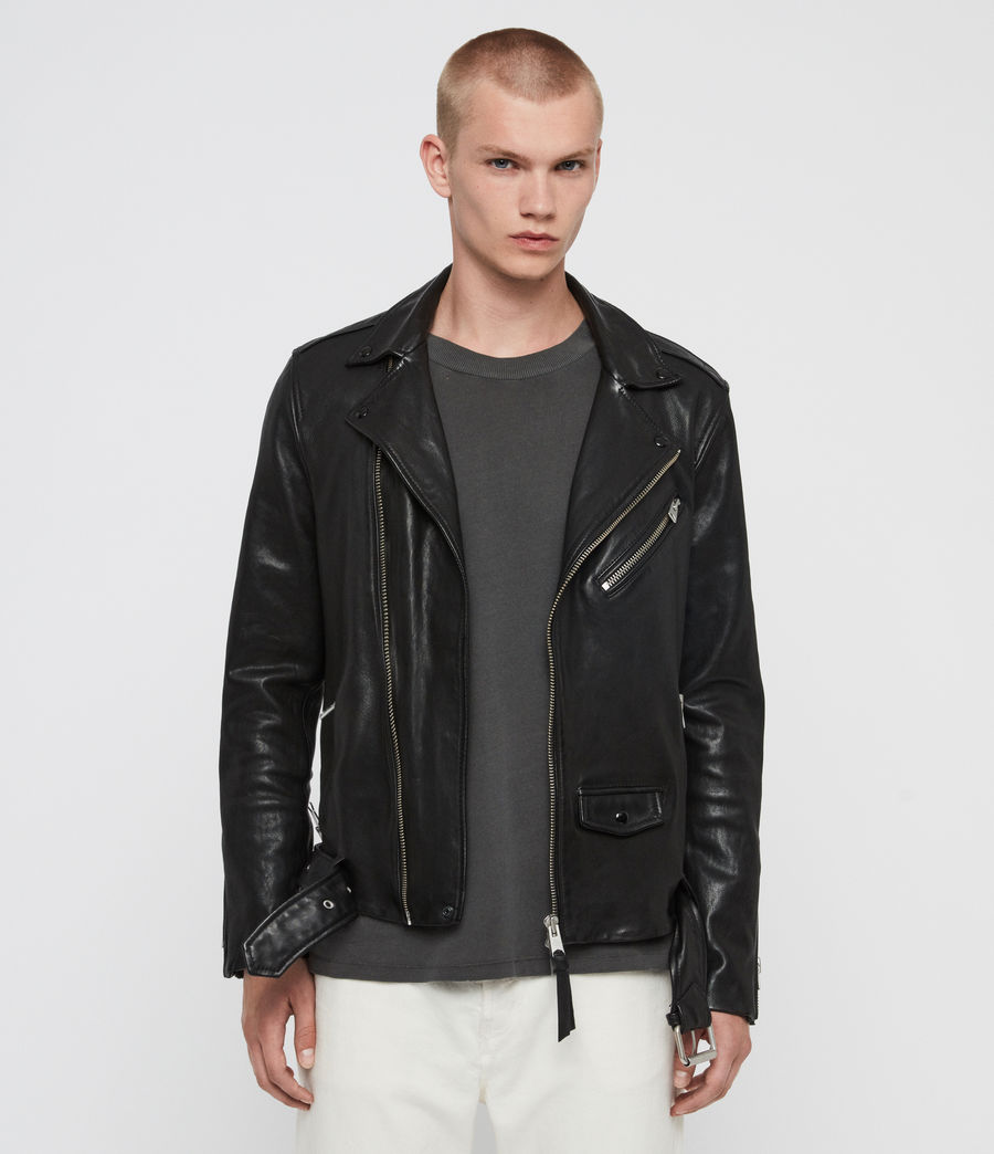 Mens Roundhouse Leather Biker Jacket (black) - Image 1
