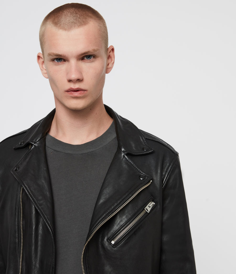 Men's Roundhouse Leather Biker Jacket (black) - Image 2