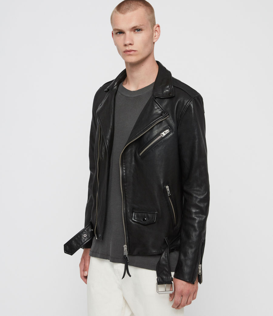Men's Roundhouse Leather Biker Jacket (black) - Image 6