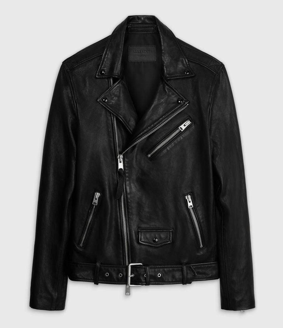 Men's Roundhouse Leather Biker Jacket (black) - Image 8