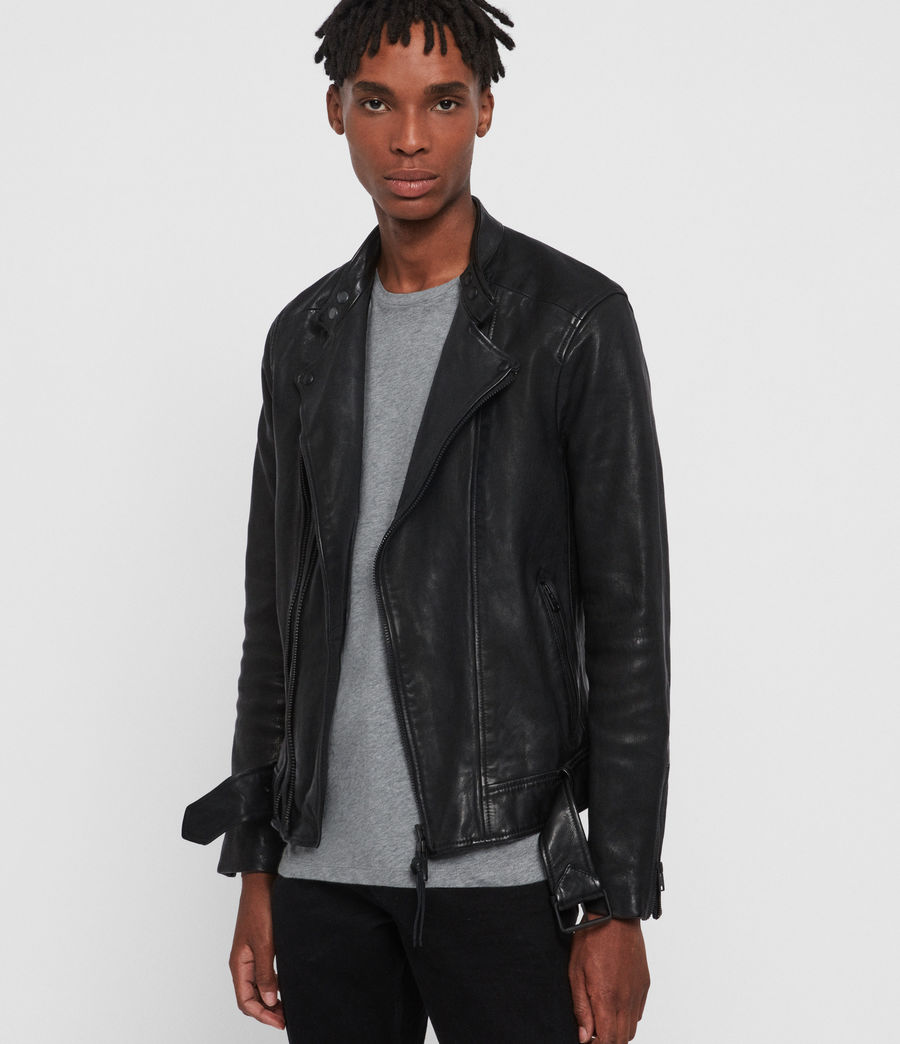 Mens Northwick Leather Biker Jacket (black) - Image 1