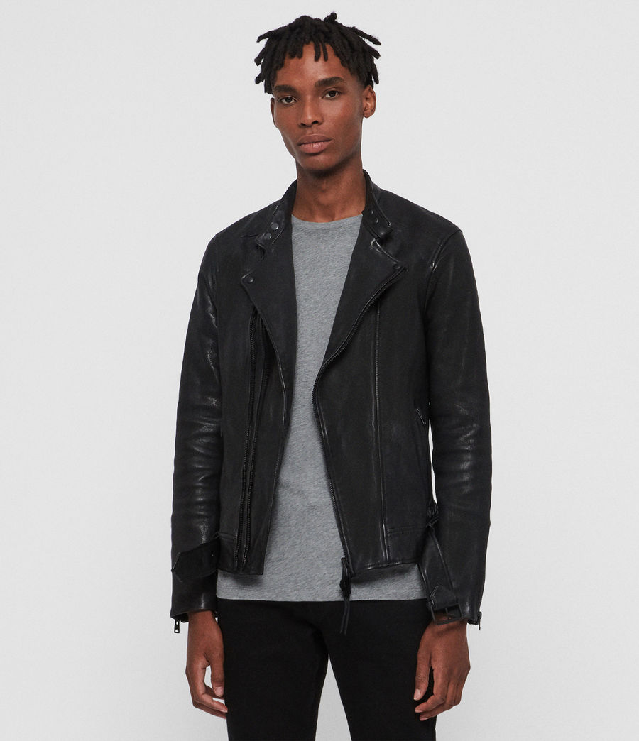 Mens Northwick Leather Biker Jacket (black) - Image 3