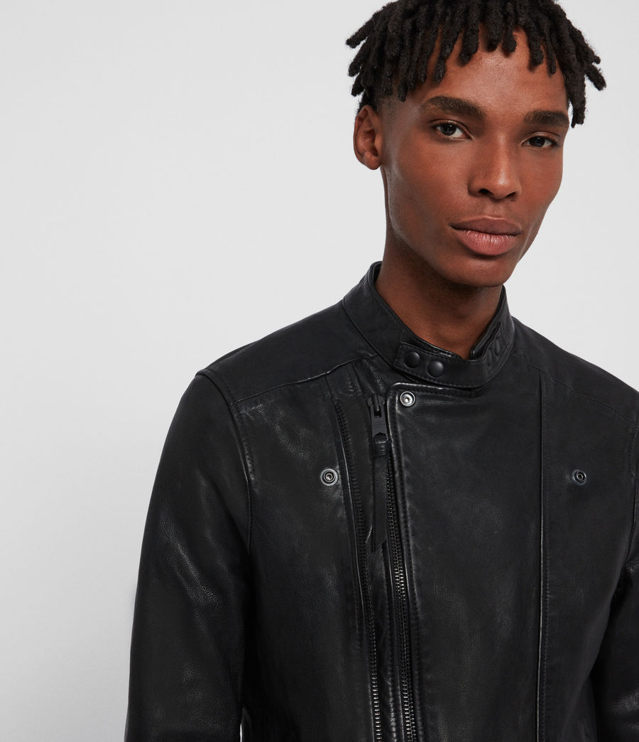 Mens Northwick Leather Biker Jacket (black) - Image 4