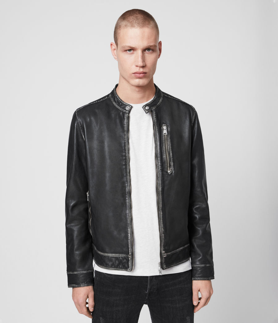 Men's Cable Leather Jacket (grey_black) - Image 1