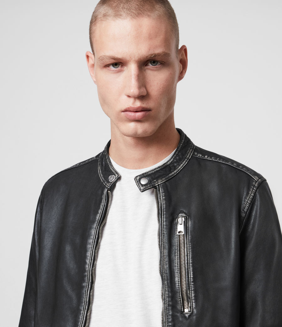 Men's Cable Leather Jacket (grey_black) - Image 2