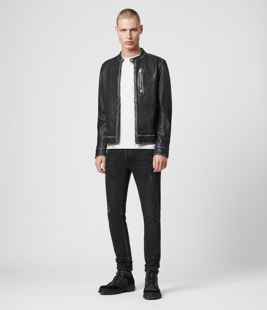 Men's Cable Leather Jacket (grey_black) - Image 3