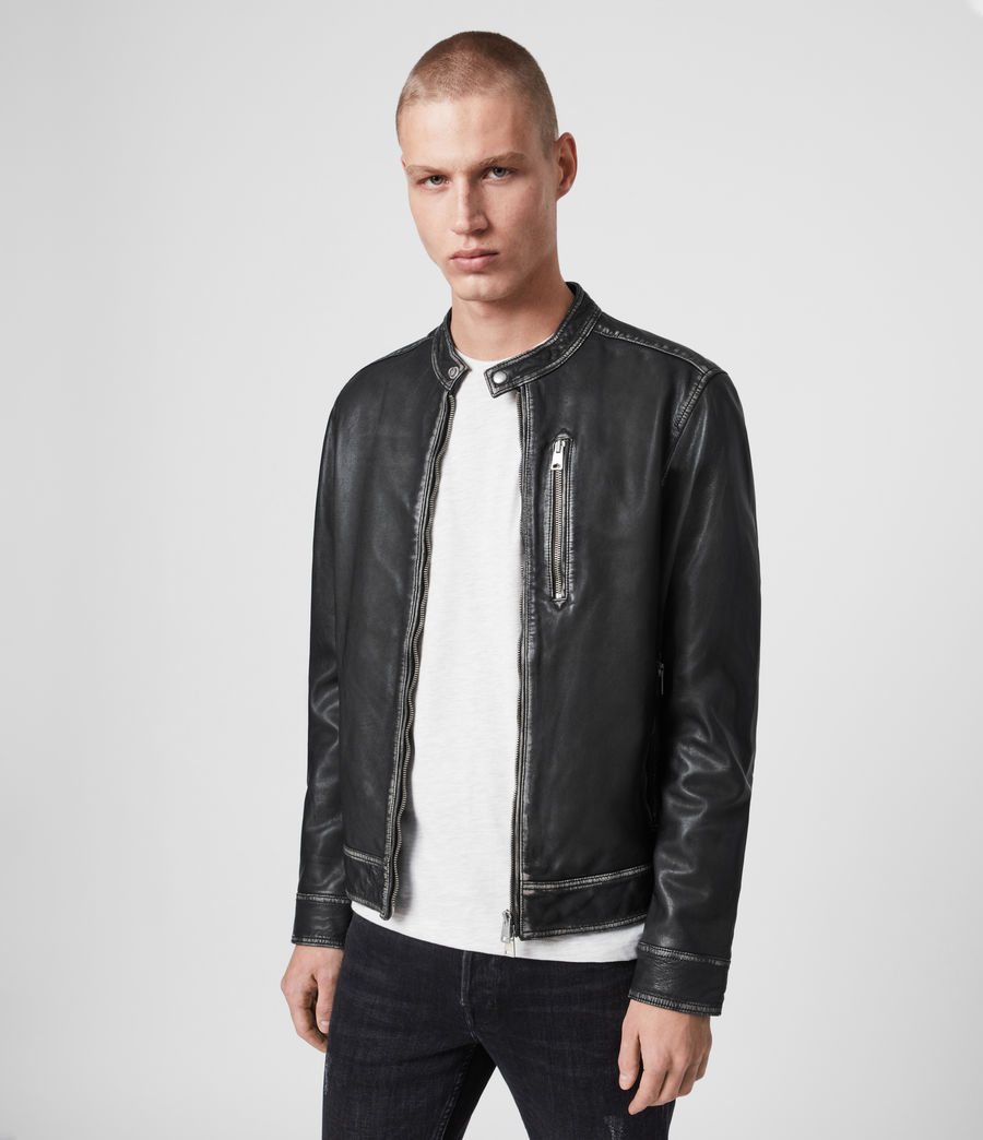 Men's Cable Leather Jacket (grey_black) - Image 5