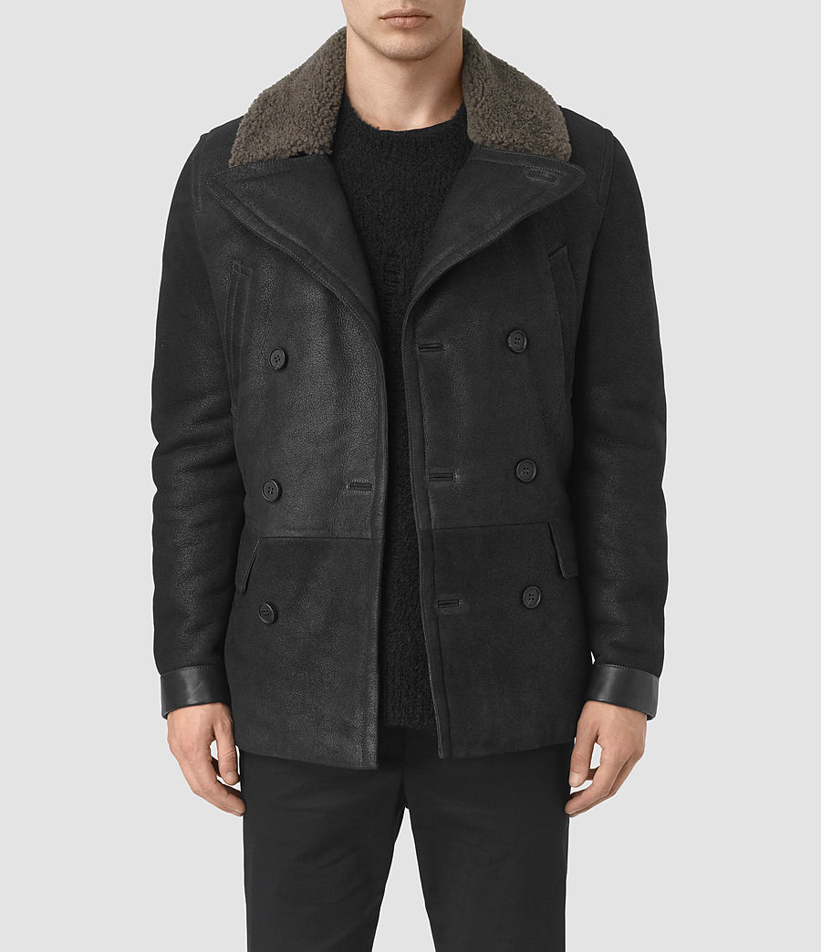 Mens Ryota Shearling Peacoat (black) - Image 1