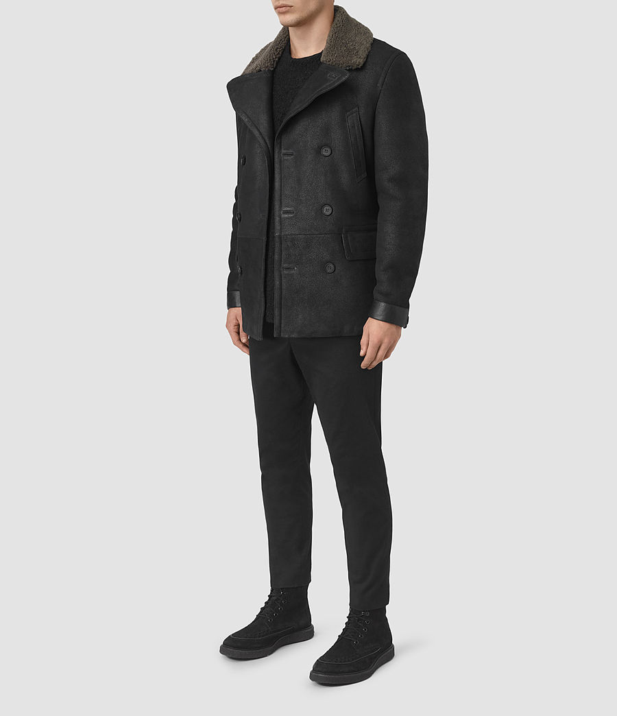 Mens Ryota Shearling Peacoat (black) - Image 2