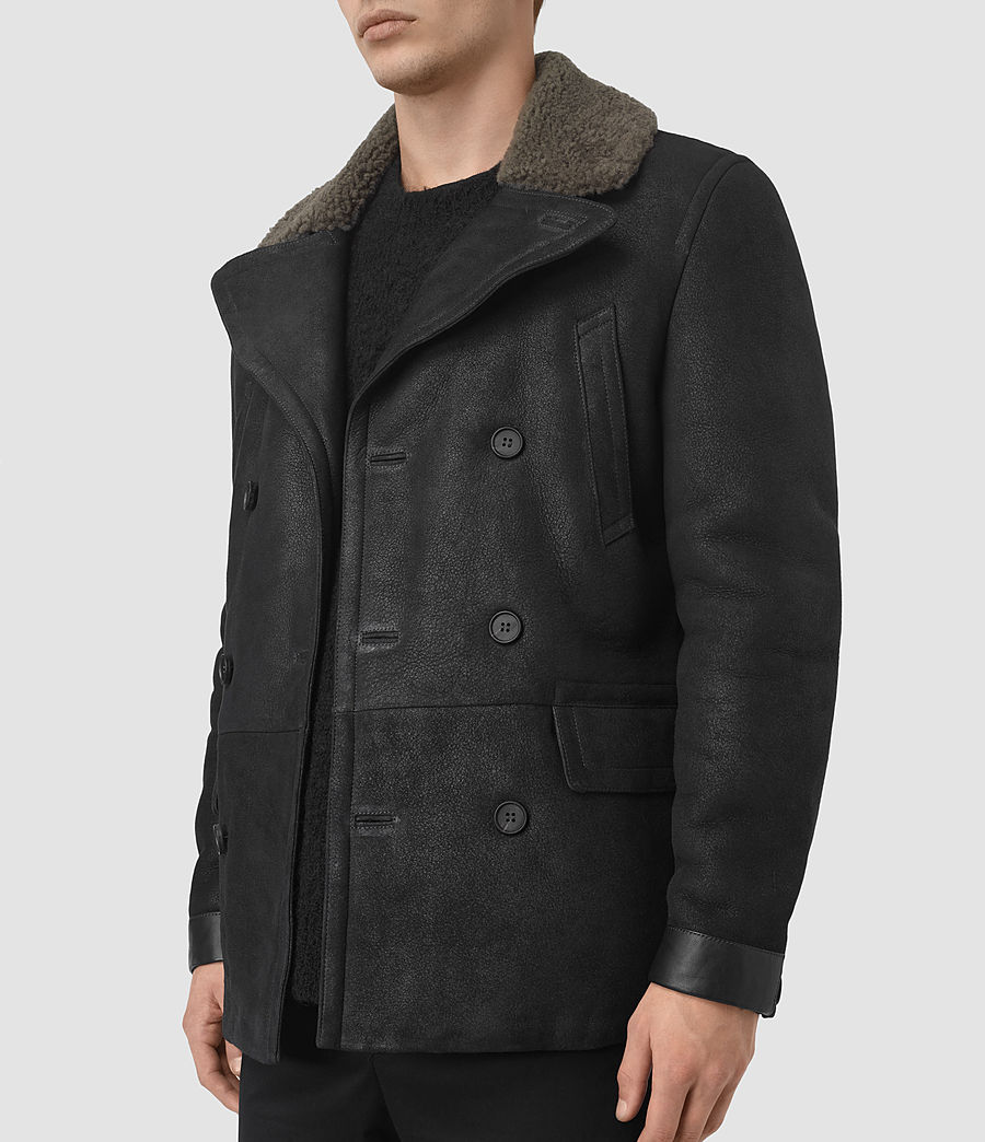 Mens Ryota Shearling Peacoat (black) - Image 3