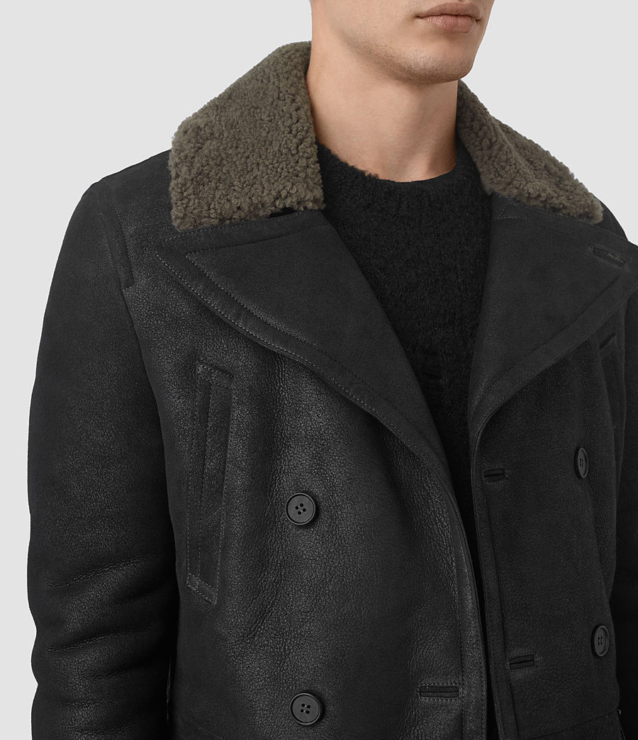 Mens Ryota Shearling Peacoat (black) - Image 4