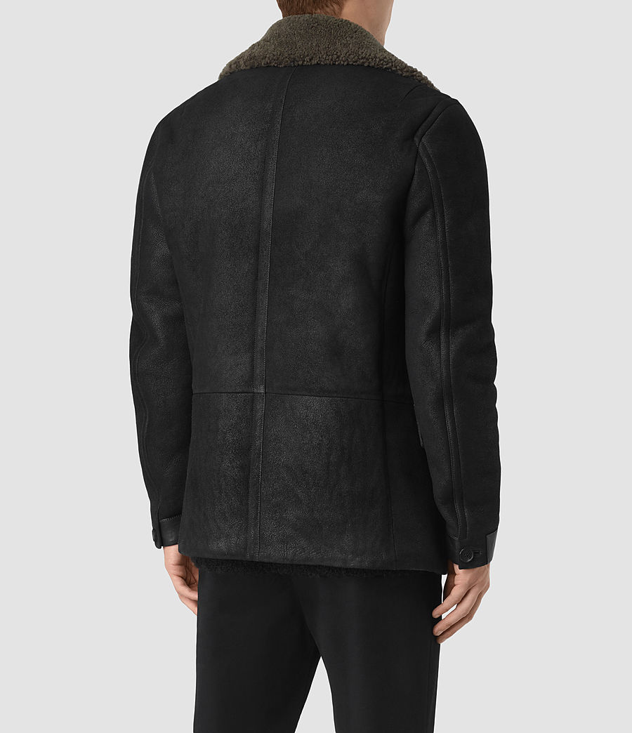 Mens Ryota Shearling Peacoat (black) - Image 5