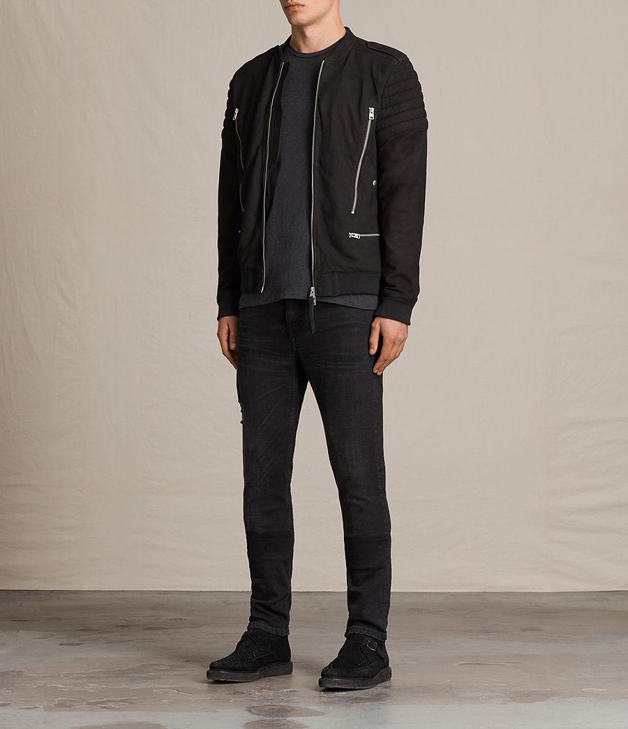 Herren Ren Suede Bomber Jacket (black) - Image 3