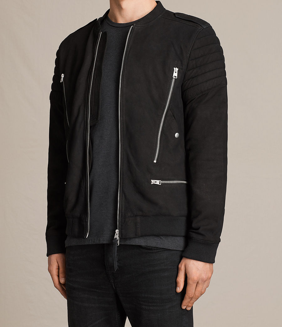 Herren Ren Suede Bomber Jacket (black) - Image 4