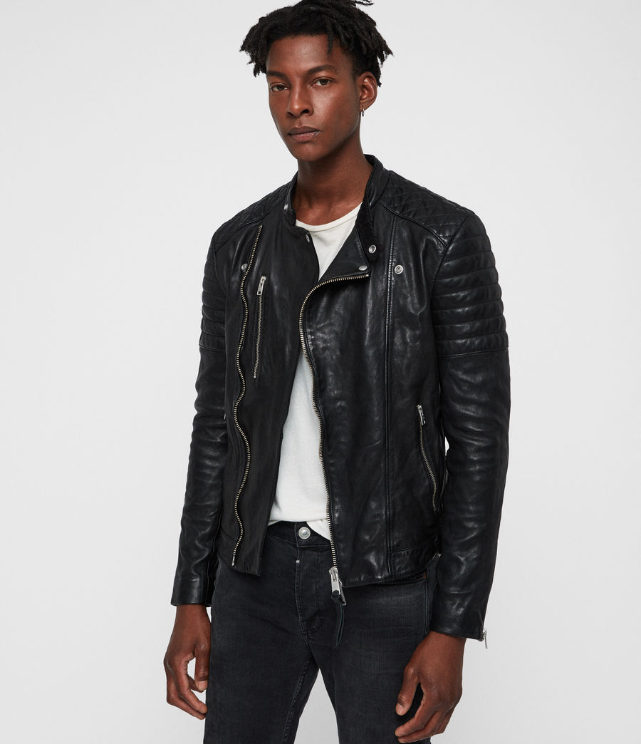 Mens Sarls Leather Biker Jacket (black) - Image 1