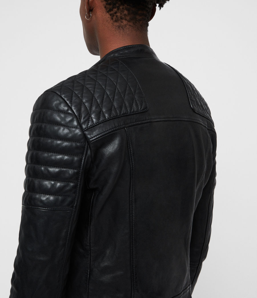 Mens Sarls Leather Biker Jacket (black) - Image 4