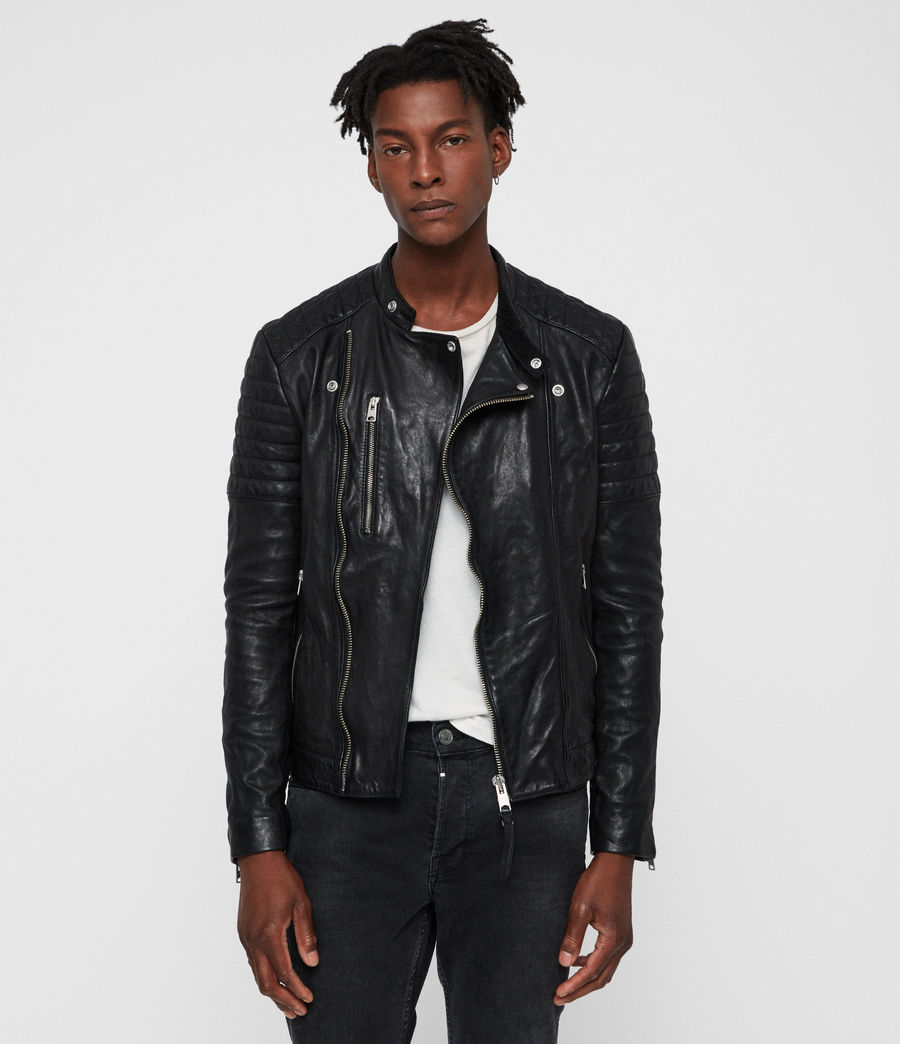 Mens Sarls Leather Biker Jacket (black) - Image 6