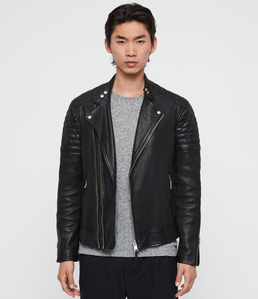 Mens Rigby Leather Biker Jacket (black) - Image 1